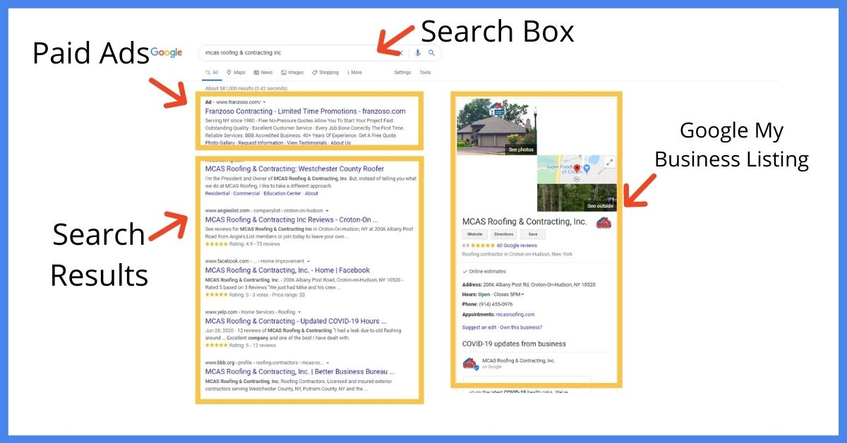 Google search engine landing page
