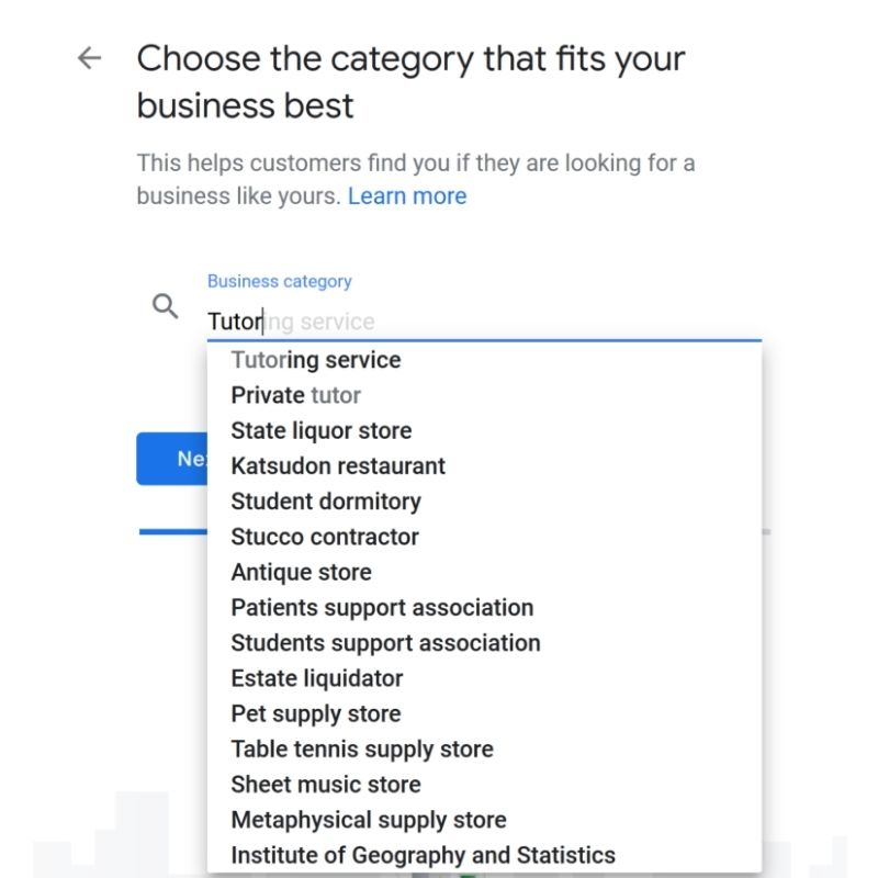 Selecting your Google My Business category