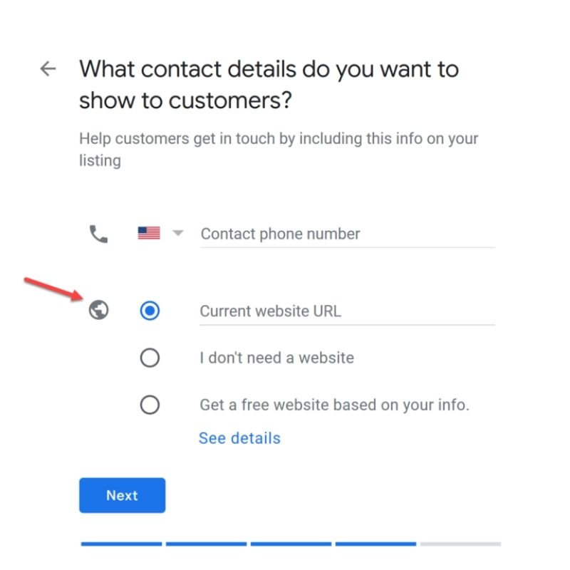 Fill in your contact details on Google My Business