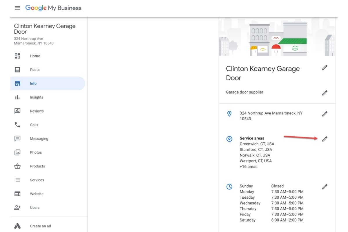 Google My Business dashboard for local garage door company