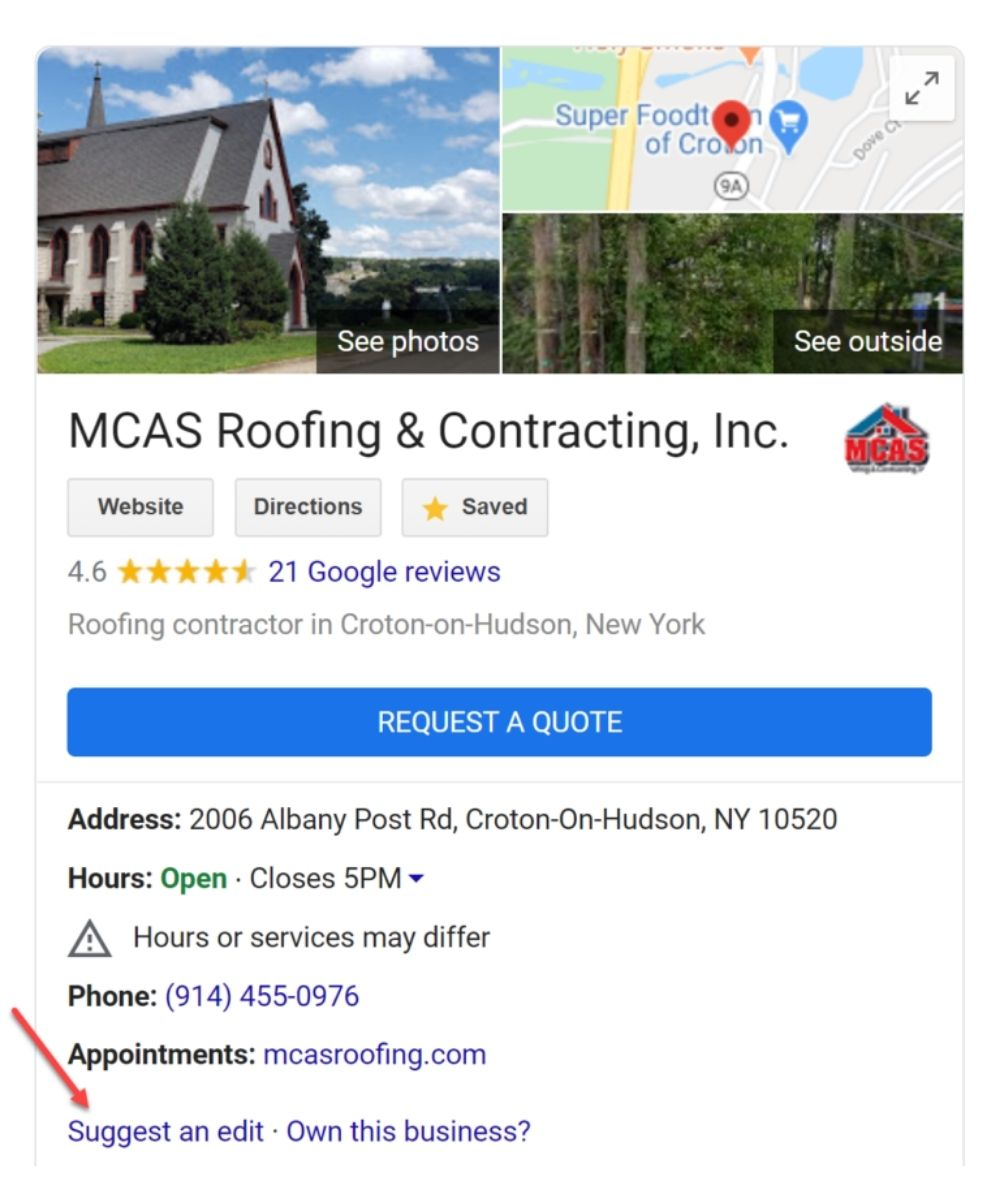 MCAS Roofing & Contracting Inc Google My Business on mobile