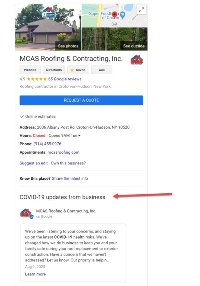 Example of Google My Business posts on SERP