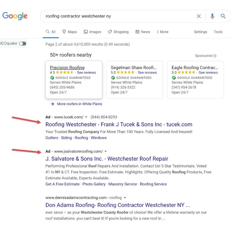 Google SERP for contractor on mobile