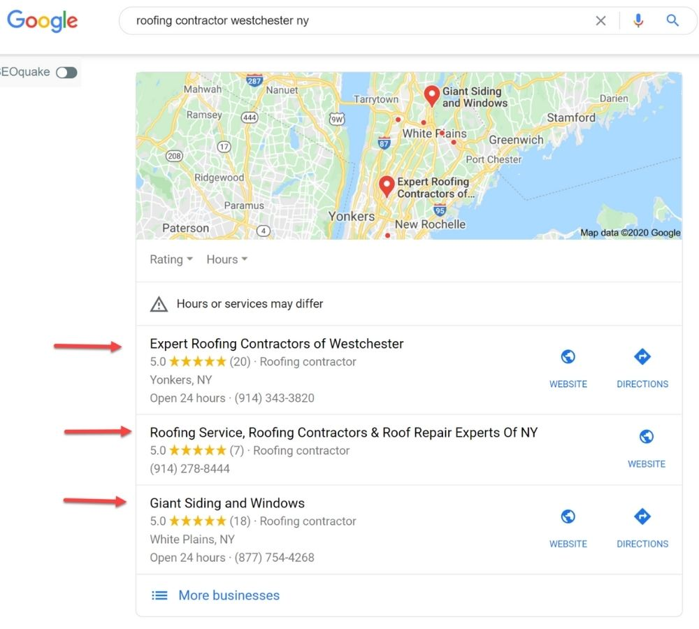 Google My Business listing for local roofer search