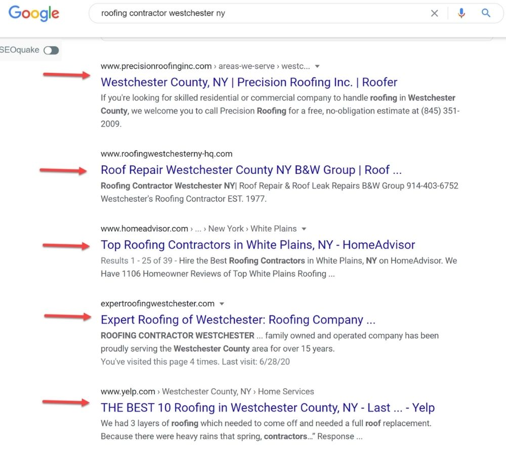 Google SERP page for roofing contractor search