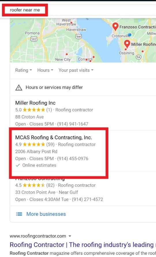 MCAS Roofing search results after one month optimizing GMB