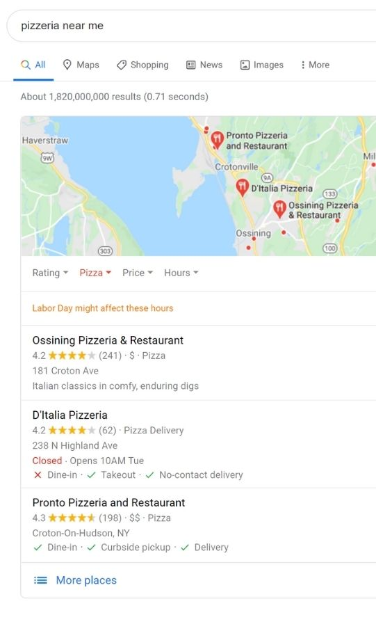 Google 3-Pack for pizzeria search